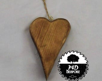 Wooden Hanging Heart - Love - Reclaimed wood - Ornament - Decoration - Wedding - Anniversary - new home - Gift - living room- kitchen