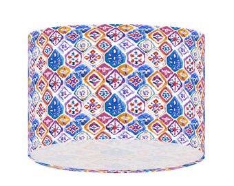 Mediterranean Tiles Lampshade, Blue Red Atercolour Fabric, Ceiling Lampshade, Table Floor Shade, Handmade Shade, Abstract Geometric 20/30/40