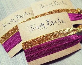 Bachelorette Party Favors | Team Bride Hair Tie Party Favors | Wine Red and Gold Hair Tie Favors | Hair Tie Favor