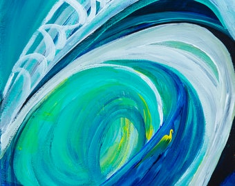 In the Wave - Colorful Abstract Art - Paper Print
