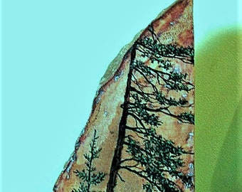 "HAND PAINTED STONE; ""bookend"" stone, original art, three sides, trees, one of a kind, desk art, shelf art,"