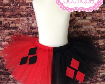 Teen/Adult Harley Quinn/Jester tutu. Available in plus size