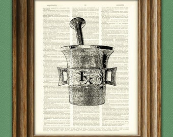 RX Pharmacy MORTAR and PESTLE illustration beautifully upcycled dictionary page book art print
