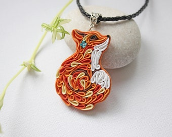 Fox necklace Fox jewelry Woodland animals Polymer clay cute fox Forest animal necklace Fox gift Polymer clay orange necklace
