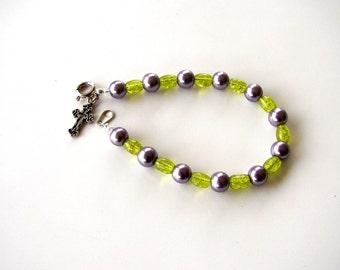 Pearl bracelet. Green bracelet. Purple bracelet. Lavendar bracelet. Charm bracelet.  Purple and green bracelet with cross charm