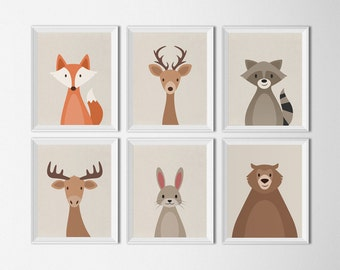 Woodland Animals Set Printable Art Nursery Art Prints Woodland Creatures Art for Kids Room Woodland Baby Shower Fox Art Print Bear Art print