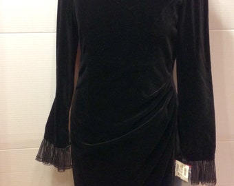 Vintage Guy Laroche dress black velvet wrapped skirt lace new with tags size 38