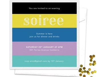 Soiree Invitation, Summer Invitation, Summer Party, Spring Party, Birthday Invitation, Colorful Invitation, Women's Birthday, Stripes