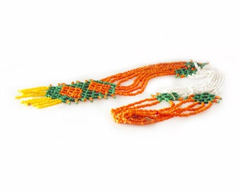 Native American Necklace, Mid 60's Beaded Fringe Necklace in Orange Green & Yellow, Boho Hippie Necklace, Native American Jewelry