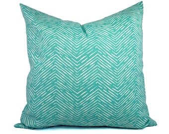 Two Indoor Outdoor Pillow Covers - 16 18 20 In - Aqua Pillow - Teal Pillow Covers - Patio Pillow - Turquoise Pillows - Outdoor Pillows