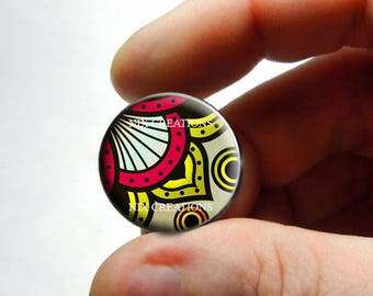 Glass Cabochon - Art Deco Floral Design 3 - for Jewelry and Pendant Making