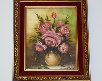 Pink Rose Painting, Flower Oil Painting, signed by Artist Georgette, gilded frame, antique painting, vintage
