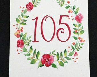 Pretty 105th Birthday Card, Flower Wreath Birthday Card, Pink, Green, Birthday Card for Mom, Card for Aunt, Card for Grandmother