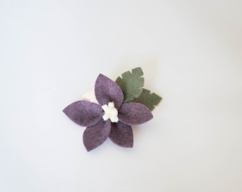 Purple and Peach Felt Flower, Clip or Headband, Handmade