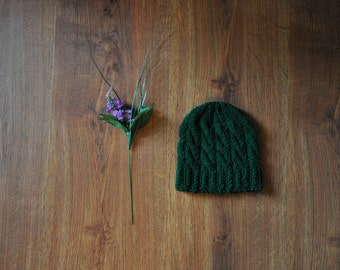 forest green knit hat / cable knit beanie / hand knitted toque / chunky knit hat