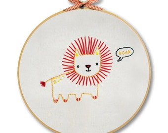 KIT embroidery lion wall art