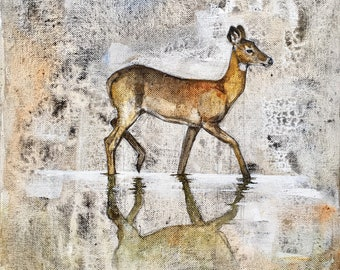 White-tailed Deer Doe Original Painting