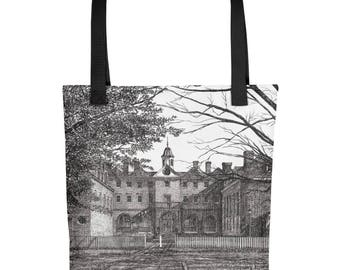 Wren Building All Over Print Tote Bag