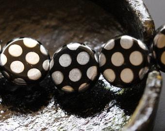 Mirror Black - Czech Glass Peacock Coin Beads (2452-4)