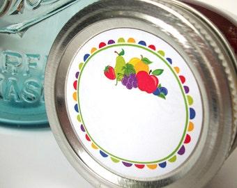 Fun Fruit canning jar labels, round mason jar stickers for jam and jelly fruit preservation, jam jar labels for regular & wide mouth jars