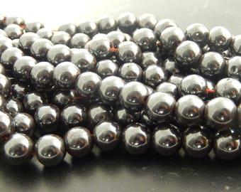 10 pearls 10 mm black hematite
