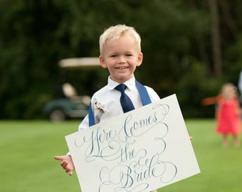 Hand lettered Here comes the bride sign print, for ring bearer or flower girl