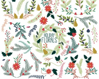 Christmas Floral Clipart Clip Art, Holiday Laurel Wreath Leaf Clip Art Clipart Vectors - Commercial and Personal Use
