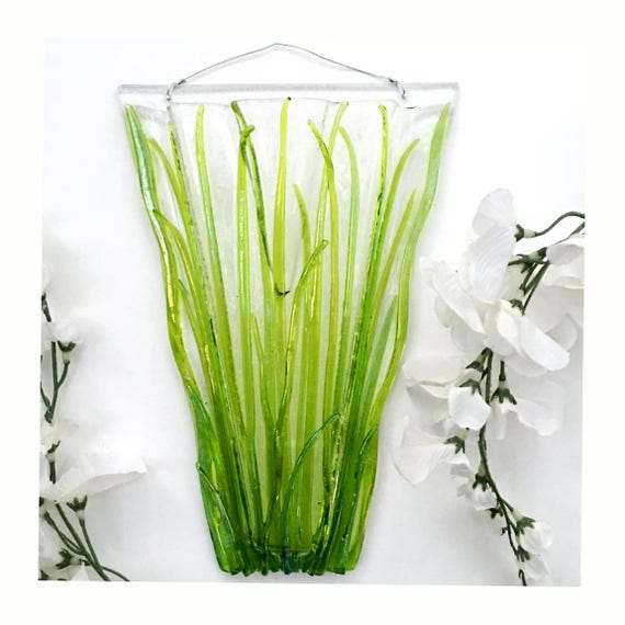 Med-Large Grass with or without ladybugs. Wall Art, Fused Glass, Wall Vase, Glass Pocket