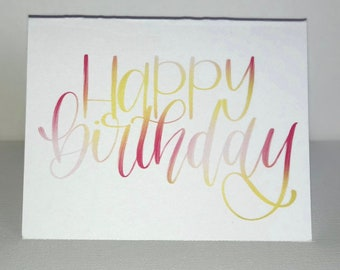 Happy Birthday Card, handlettered, greeting card