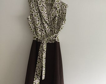 Green, white and brown retro wrap dress with sash