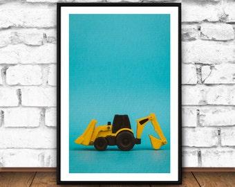 Backhoe print, Nursery printable art, Nursery framed art, Nursery toys, Printable Kids Gift, Printable Kids Wall Art, Nursery Printable