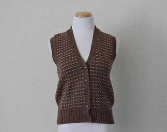 FREE usa SHIPPING women's brown wool vest/ button up vest/ v neck/ retro/ groovy/ hipster/ preppy size M