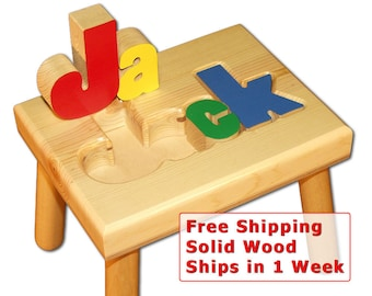 Child's Name Puzzle Stool + FREE Shipping (Item 101-2)