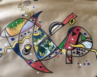 Hand painted abstract bag