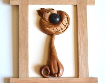 Cat Funny animal decor Wood painting bark of black poplar pine wood carving decor for home gift wood art sculpture