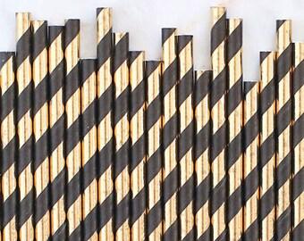 Cannucce di carta stagnola oro e nero, nero e oro lamina Stripe cannucce di carta, torta d'oro Pop bastoni, cannucce di carta nera, cannucce di carta di nozze