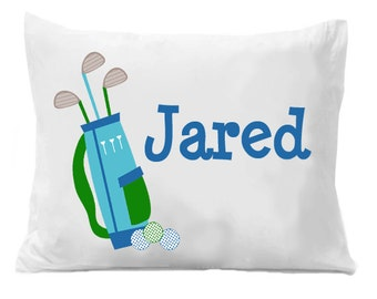 Golf Personalized Name Pillowcase , Golf Personalized Pillow Case , Golf Bedding