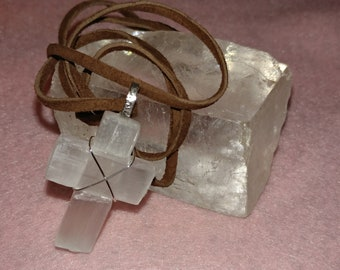 Large Selenite Cross and 925 Silver Pendant 1.5 inches