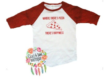 Where there's pizza, there's happiness,  Baby Girl, Baby Boy, Funny Baby Clothes, Baby Shower Guft, Baby Girl Clothes, Baby Boy Clothes