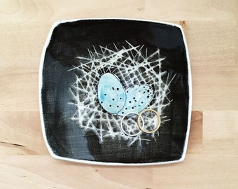 Birds Nest and Eggs Pottery Dish - Trinket Dish - Ring Dish - Spoon Rest - Catchall Dish
