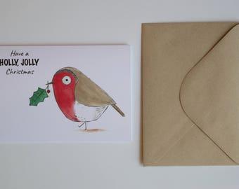 Robin with Holly Christmas Card