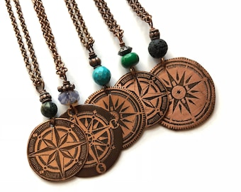 Wanderlust Compass Necklace Explore Adventure Travel Necklace Rustic Copper Compass Necklace