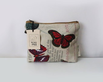 Butterfly Pouch, Small Cosmetic Bag, Zipper Pouch, Small Wallet, Make up Bag, Coin Purse, Women Purse, Canvas Butterfly Bag, Zipper  Bag