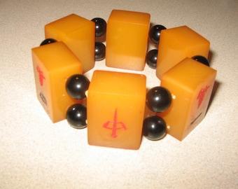 Nice Chunky  Mah Jong Bracelet Vintage Costume Jewelry #5047