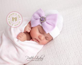 Ready to Ship, Purple newborn hat with bow, hospital hat baby girl, newborn hospital hat, girl newborn hospital hat purple hat with bow