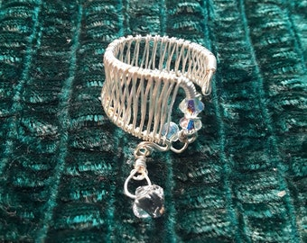 Wire Woven Ring feat. Swarovski Crystals