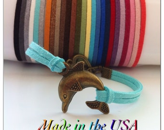 Dolphin Bracelet, Suede Leather Dolphin Bracelet Dolphin charm. Friendship Bracelet. Dolphin Jewelry. Gift For Her. Ocean Life. Sea Life.