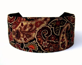 Bargain Headbands, Sophisticated Bohemian Retro Earth Tone Paisleys and Flowers, Super Gorgeous Headband