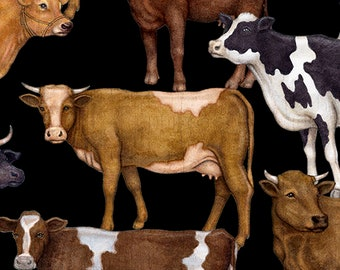Quilting Treasures fabric Bountiful Farm Animals Dan Morris 25978J Black brown white cows holstein jersey novelty 100% Cotton Quilt by yard