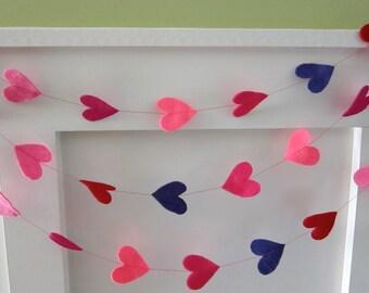 Felt Valentine Heart Party Garland Decoration - Brights